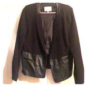 Black jacket with leather accents
